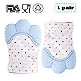 CamRom Silicone Baby Teething Mittens for Babies 2 pack(1 pair),BPA FREE Soothing Teething Mitt for 3-12 Months Baby,Infant Teether for Massage Sore Teething Gums Provides Self-Soothing Fun (blue)