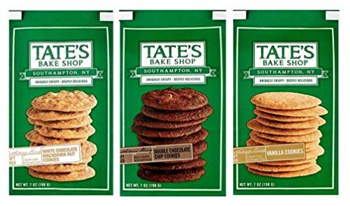 - Tate's Bake Shop Deeply Delicious Cookies 3 Flavor Variety Bundle: (1) Tate's White Chocolate Macadamia Nut Cookies, (1) Tate's Double Chocolate Chip Cookies, and (1) Tate's Vanilla Cookies, 7 Oz Ea