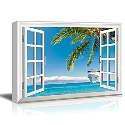 Window Peering into an Ocean with a Beach and a Cruise Ship, Crafted to Perfection, Stunning Composition
