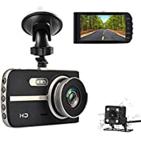 TekBow Car Dash Cam 4.0 FHD 1080P Vehicle DVR Dashboard Camera Front and Rear Video Recorder 170 Degree Wide Angle With Night Vision, WDR, Parking Mode,Loop Recording