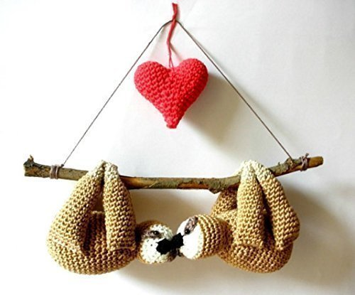 Crochet Heart Pin (Stuffed sloths couple on a branch with red heart, cute gift crochet sloths)