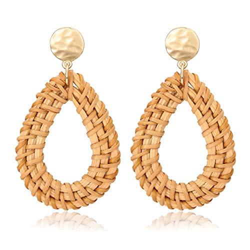 - XOCARTIGE Handmade Wicker Earrings Lightweight Rattan Earrings (A Drop)