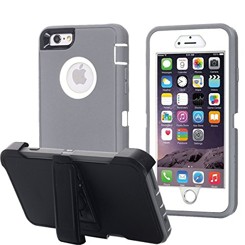 Ai-case Built-in Screen Protector Tough 4 in1 Rugged Shorkproof Cover With Kickstand for iPhone 6/6S Plus, Grey/White