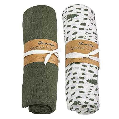 Oliver & Rain Baby Swaddle Sampler, Olive/Green ()