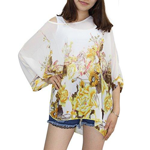 Manica Maglietta Chiffon Camicetta con in Blusa Donna Elegante Estate Lunga Bohemian Stampa 3 A14 4 Shirt Chiffon T BienBien xXwYqq041