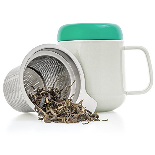 Tealyra - Sumo Ceramic Tea Cup Infuser - 13.5-ounce - Small Mug with Lid and Stainless Steel Filter For Loose Leaf Tea - Tea-For-One - 400 ml (How Do You Infuse Tea)