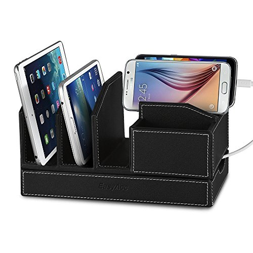 EasyAcc Single-Deck Multi-Device Charging Organization Station Docks Stand for Smart Phones Note 9 iPhone x and iPad Tablets iPhone X/ 8/8 Plus Samsung Galaxy S8/ S8 Plus Black Pu Leather