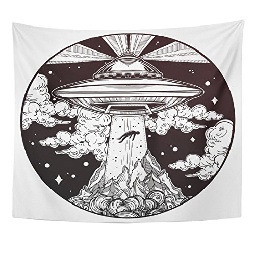 - Emvency Tapestry Alien Spaceship UFO Flying Saucer Abducting Human Conspiracy Theory Home Decor Wall Hanging for Living Room Bedroom Dorm 50x60 inches