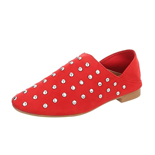 Zapatos para Mujer Mocasines Tacón Ancho Slip-on Rojo Tamaño 41: Amazon.es: Zapatos y complementos