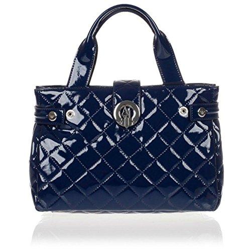 ARMANI JEANS Quilted Patent Donna Handbag Blu Blu