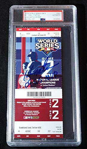 HIDEKI MATSUI Yankees Signed 2009 World Series WS TICKET Gm2 + Slabbed Pop 1 - PSA/DNA Certified - Baseball Slabbed Autographed Cards