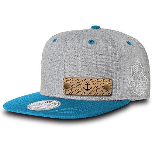RUBDE Cap2 | Individuelle Snapback Cap Basecap Kappe mit Lederpatch, NFC-Sticker und QR-Code Größen - personalisierbar | Unisex - Herren Damen Kinder Kids