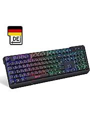 KLIM Chroma Tastatur Gamer mit USB Kabel – Hohe Leistung – Bunte Beleuchtung (Schwarz) RGB PC Windows, Mac PS4
