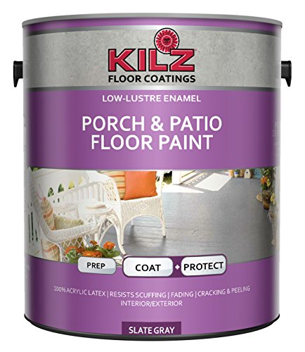KILZ Interior/Exterior Enamel Porch & Patio Latex Floor Paint, Low-Lustre, Slate Gray, 1 gallon (Best Deck Over Paint)