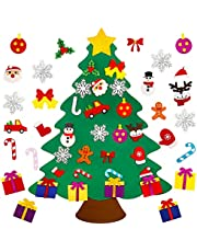 Kingovalley 3.1ft DIY Felt Christmas Tree Set, DIY Felt Xmas Tree with 25Pcs Glitter Ornaments, Christmas Door Wall Hanging Decorations for Kids, Toddler, Xmas Gifts Party Supplies
