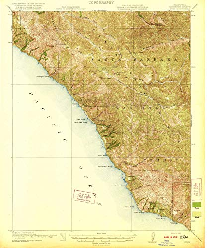 YellowMaps Lucia CA topo map, 1:62500 Scale, 15 X 15 Minute, Historical, 1921, 19.8 x 16.6 in - -