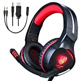 Gaming Headset for Xbox One, PS4 Headphones, Noise Cancelling Over-Ear Wired Headphones with Mic, LED Lights Surround Stereo Headsets for Laptop, Mac(Red) For Sale