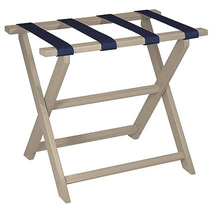 c93c4f887724 Gate House Furniture Beige Eco-Poly Folding Luggage Rack with 4 Navy Nylon  Straps