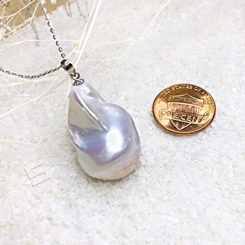 Baroque Pearl Pendant - Large Baroque Pearl In 18KT Gold Pendant, Cultured Kasumi Like Pearl With 18KT Solid Gold Bail Pendant, Big Pearl & Gold Pendant