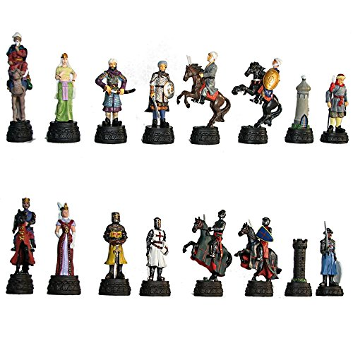 """5"""" Deluxe Crusaders vs Saracens Hand Painted Polystone Chess Pieces"""