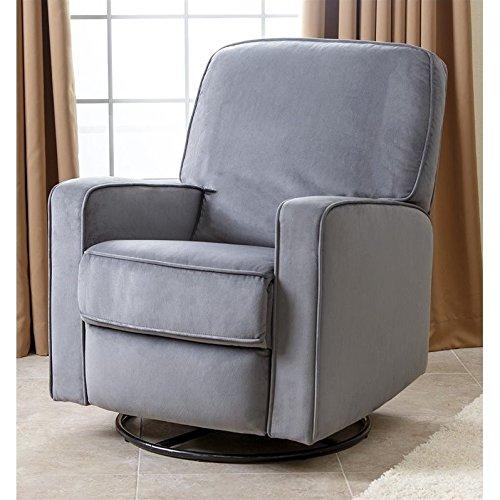 Abbyson Ravenna Fabric Swivel Glider Recliner Chair in Gray
