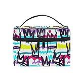 Toiletry Bag Multifunction Cosmetic Bag Portable Makeup Pouch Waterproof Travel Organizer Bag for Women Girls Hip Hop Black White Graffiti