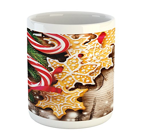 Ambesonne Christmas Mug, Cookies and Candy Canes on Wooden T