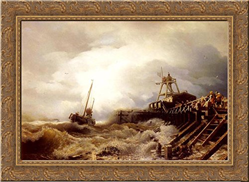 (A Fishing Boat Caught In A Squall Off A Jetty 24x19 Gold Ornate Wood Framed Canvas Art by Achenbach, Andreas)