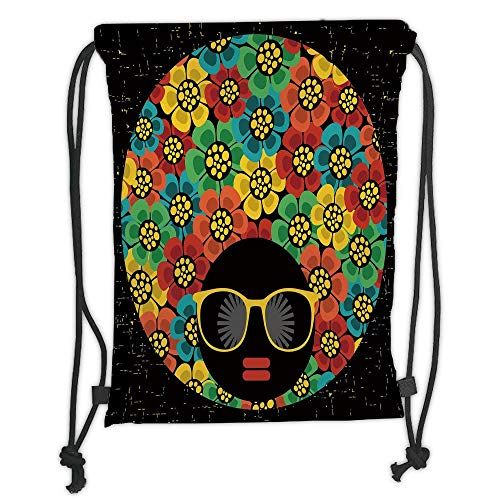 New Fashion Gym Drawstring Backpacks Bags,70s Party Decorations,Abstract Woman Portrait Hair Style with Flowers Sunglasses Lips Graphic Decorative,Multicolor Soft Satin,Adjustable ()