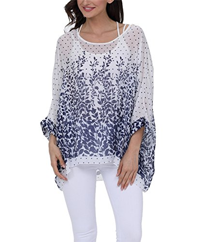Holiday Shirt Top (Nicetage Women Summer Holiday Batwing Blouse Hippie Semi Sheer Loose Tops 4287)