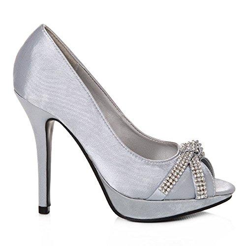 Peep Miss Argento raso toe Diva Argento Donna f57pCwHq5