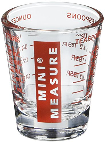 Kolder 13211 Mini Measure Heavy Glass, 20-Incremental Measurements Multi-Purpose Liquid and Dry Measuring Shot Glass, Red ()