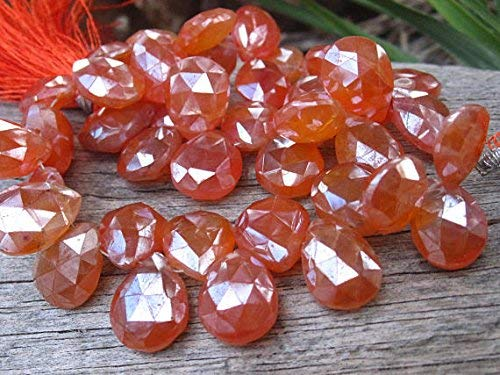 Carnelian Beads Diamond Finish Faceted teardrops briolettes 3 3/4 inches 15mm X 10mm by Gemswholesale