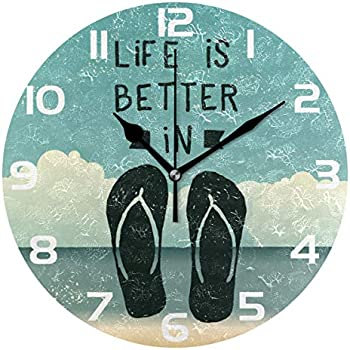 WellLee Vintage Life Is Better Flip Flops Summer Seaside Clock Acrylic Painted Silent Non-Ticking Round Wall Clock Home Art Bedroom Living Dorm Room Decor
