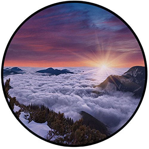 Printing Round Rug,Nature,Winter Landscape in the Mountains Sunset Majestic Scenes from the World Photo Decorative Mat Non-Slip Soft Entrance Mat Door Floor Rug Area Rug For Chair Living Room,Muave Wh ()