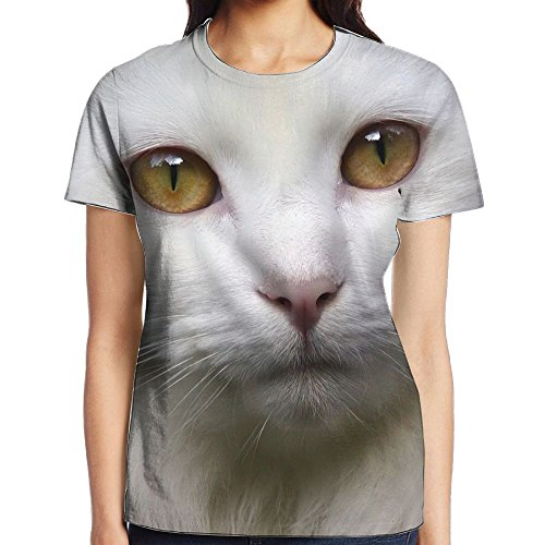 Pure White Cat Face Full Print Female Geek T-shirt Short Sleeve Athletes Undershirt Jersey Shirt (Elegance Planters)