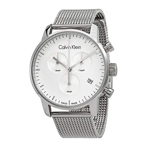 CALVIN KLEIN K2G27126 Mens CITY Swiss Made Milanese Chronograph Watch w/ Date (Best Swiss Made Watches Under 300)