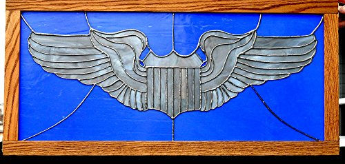 Stained Glass Air Force Pilot Wings Framed in Oak Ready to Hang