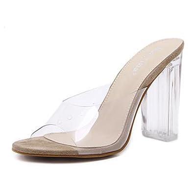 Aisun Femme Confortable Transparent Cristal Talon Bloc Mules