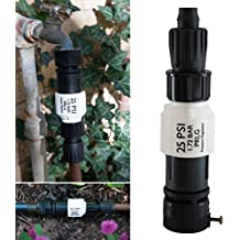 """Drip Irrigation Faucet Adapter Kit: Connect 1/2"""" Tubing to Faucet or Hose, Backflow Preventer, Filter, Pressure Regulator - No Assembly Required"""