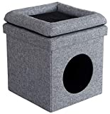 Ornavo Home Foldable Square Cube Linen Pet House/Condo Bed Storage Ottoman with Cushion – for Cat & Dog – 15″ x 15″ x 15″