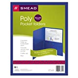 Smead Poly Two-Pocket Folder with Security Pocket, Holds up to 100 Sheets, Letter Size, Blue, 5 per Pack (87701)