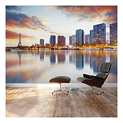 Paris Sunset with The Eiffel Tower - Landscape - Wall Mural, Removable Sticker, Home Decor - 100x144 inches