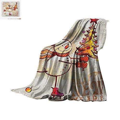 Christmas Digital Printing Blanket Skating Happy Snowman with Christmas Tree Cheerful Hand Drawn Ornate Snowflakes Oversized Travel Throw Cover Blanket 60