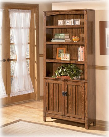 Cross Island H319-18 75 Large Door Bookcase Including 4 Shelves and 2 Doors with Distressed Detailing Decorative Hardware and Tapered Legs in Medium Brown