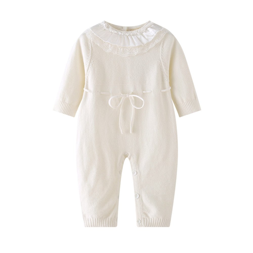 Auro Mesa Newborn Baby Girls White Princess Lace Knitted Rompers