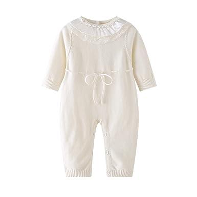 1fdd08fb1 Auro Mesa Newborn Baby Girls White Princess Lace Knitted Rompers ...