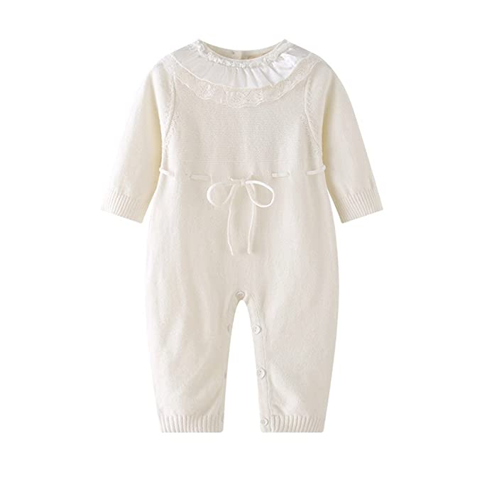 f8973a49aa3a Amazon.com  Auro mesa White Baby Lace Knit Romper Long Sleeve Infant ...