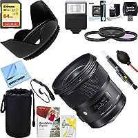 Sigma 24mm f/1.4 DG HSM Wide Angle Lens (Art) for Nikon DSLR Camera Mount (401-306)+ 64GB Ultimate Filter & Flash Photography Bundle