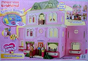Fisher Price Loving Family Grand Dollhouse w Bonus Backyard Playset (2008 Mattel Canada)